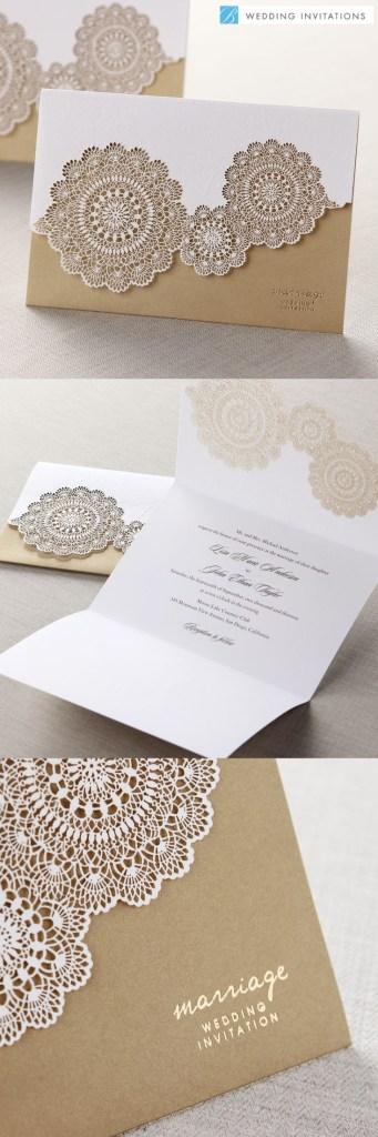 Tri-Fold Laser Cut Gold by B Wedding Invitations