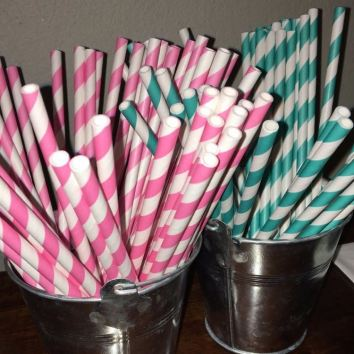 Vintage Straws in Galvanised Buckets