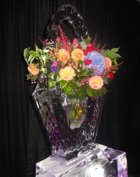 Ice Sculpture with Fresh Flowers