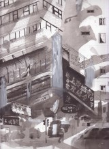 Mong Kok (Shanghai Street), 2016 22.7 x 31 cm Watercolor and collage on paper