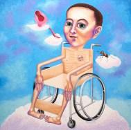 輪椅人, 淋漓, 油彩布本 150x150cm 2013