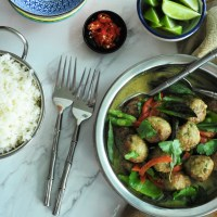 Thai green chicken meatball curry