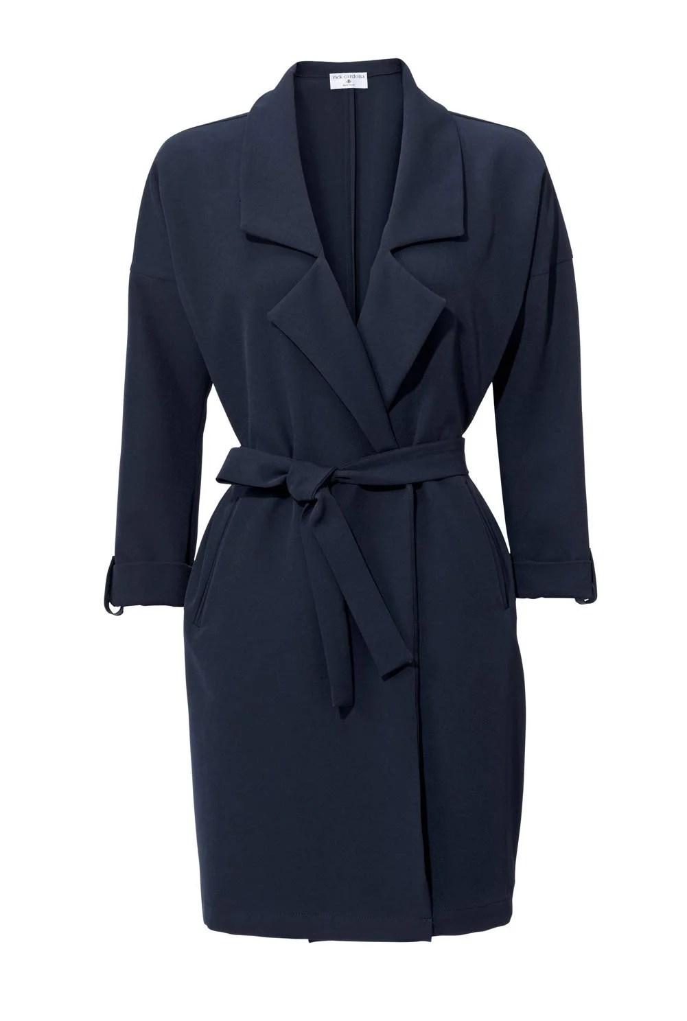004.675 Rick Cardona Damen-Blazermantel Blau Marine Gürtel Verschlusslos Taschen