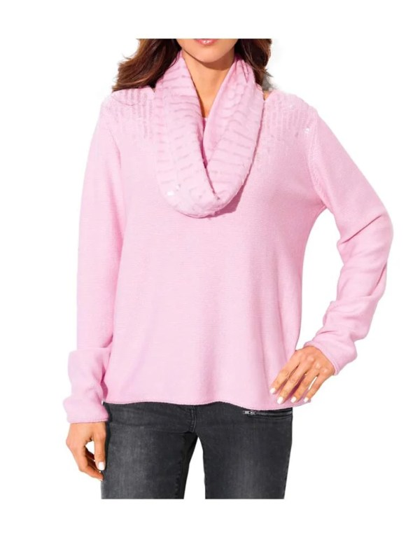 006.153a ASHLEY BROOKE Damen Designer-Pullover + Schal Rosé