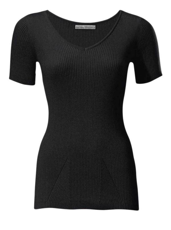 007.115 ASHLEY BROOKE Damen Designer-Rippenpullover Schwarz Pullover Halbarm Basic Eng