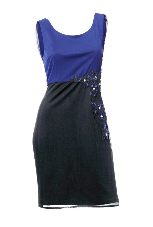 008.119 ASHLEY BROOKE Damen Designer-Cocktailkleid Blau-Schwarz
