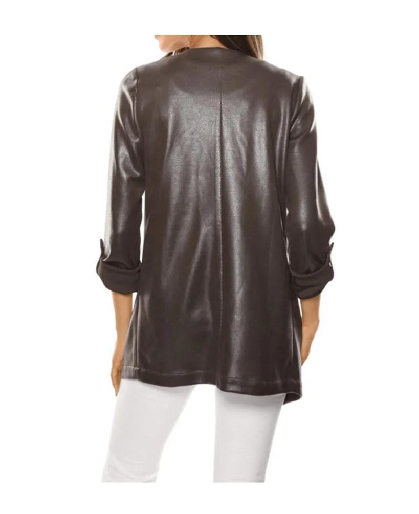 008.783 Ashley Brooke Damen Designer-Kurzmantel Braun Leder Imitat Kunstleder Taupe