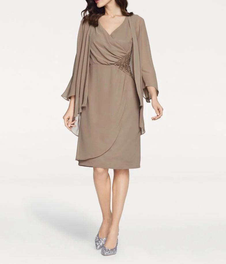 009.714 ASHLEY BROOKE Damen Designer-Cocktailkleid+Bluse Taupe