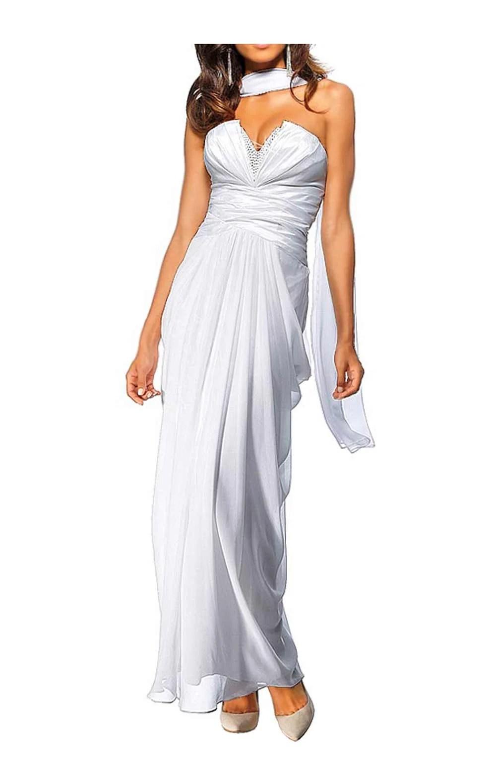 024.651 HEINE Damen Designer-Abendkleid m. Schal Weiß
