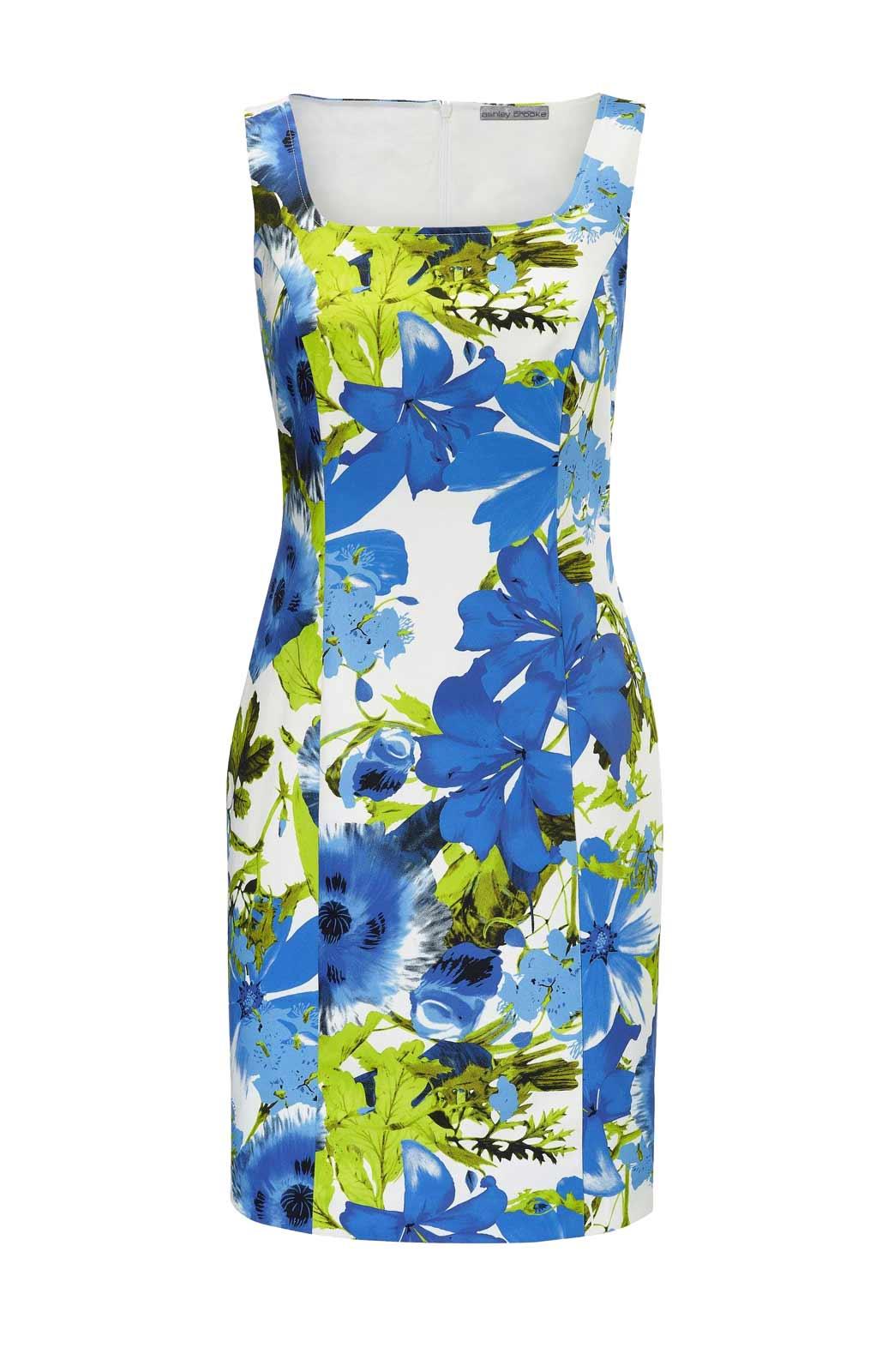 038.596 ASHLEY BROOKE Damen Designer-Druck-Etuikleid Blau-Grün