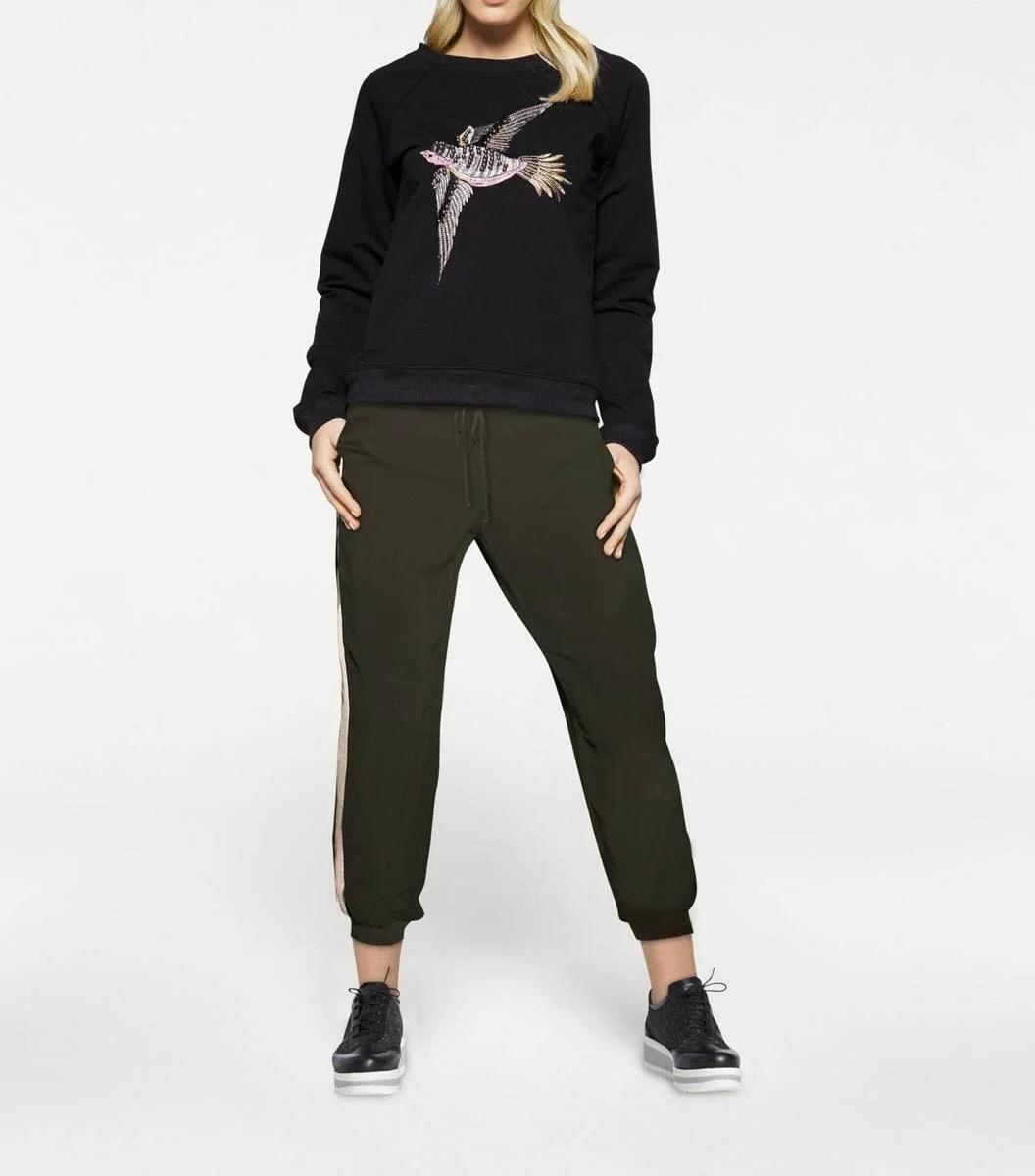 042.021 RICK CARDONA Damen Designer-Sweatshirt m. Perlen Schwarz