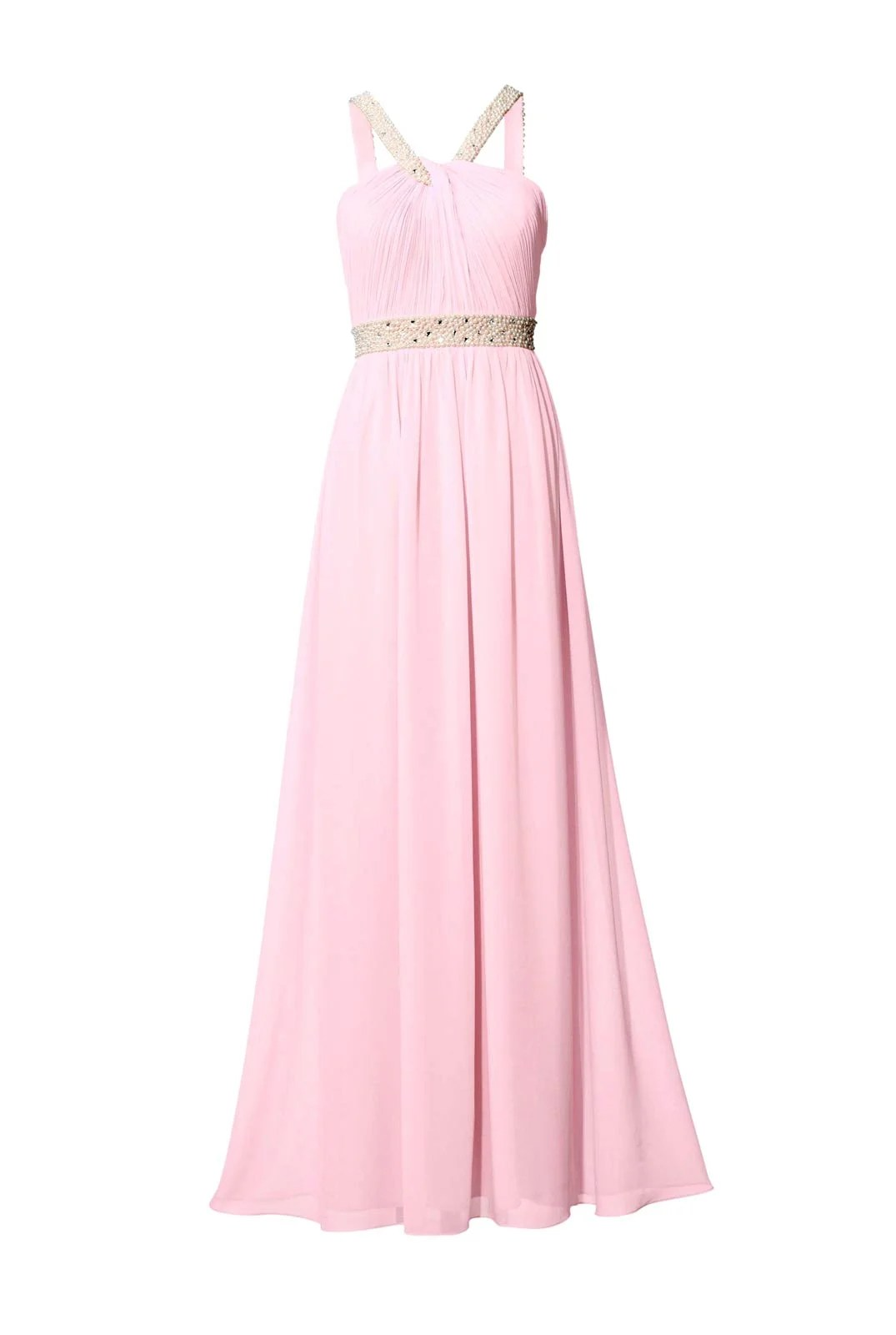 058.363 ASHLEY BROOKE Damen Designer-Abendkleid m. Perlen-Stickerei Rosé