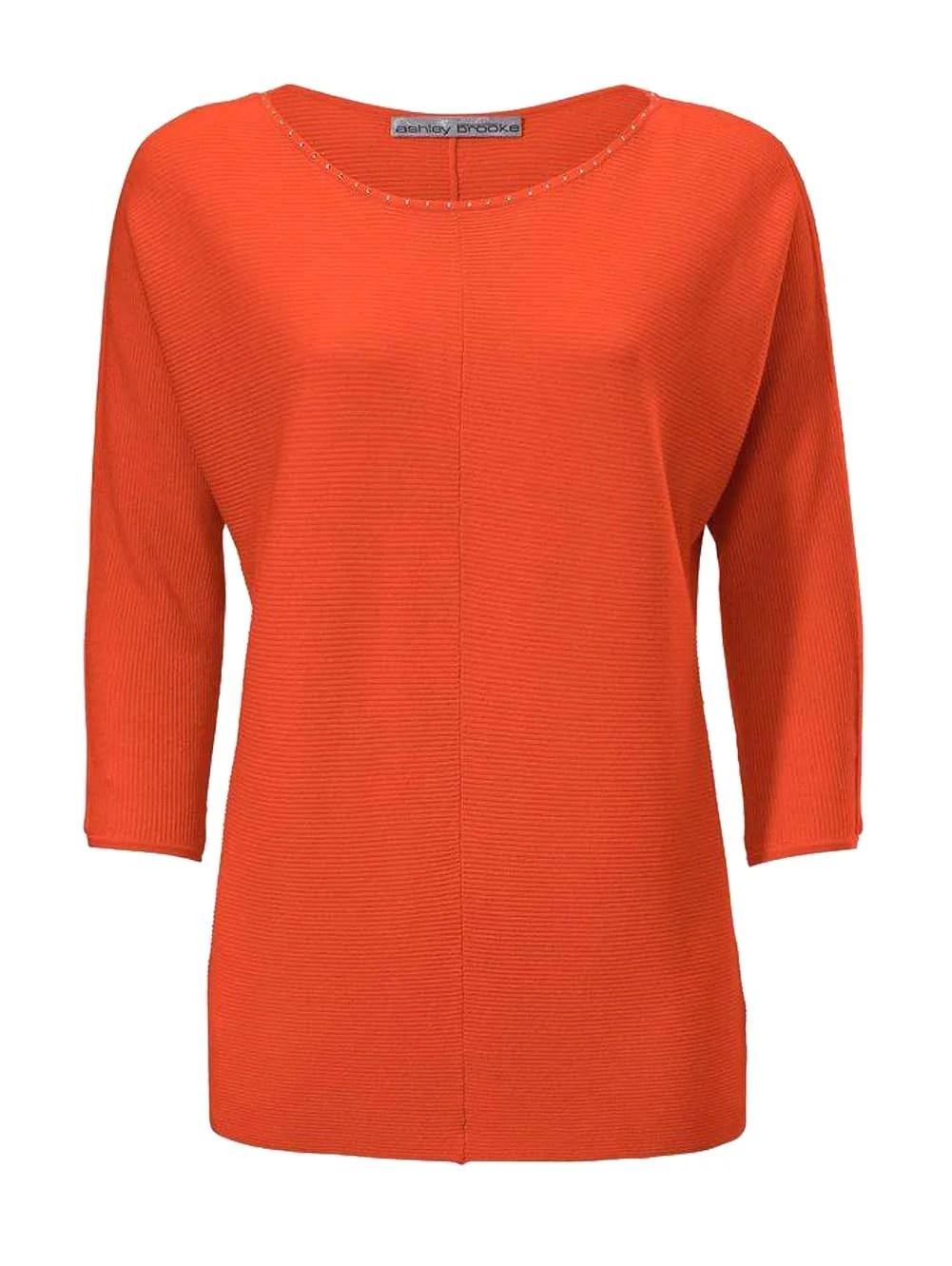 059.647 ASHLEY BROOKE Damen Designer-Pullover m. Strass Orange