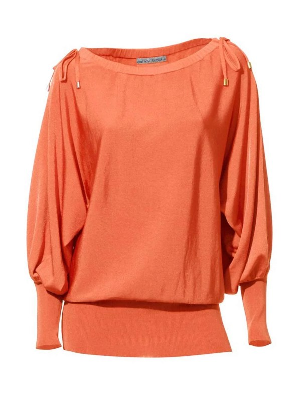 071.142a ASHLEY BROOKE Damen Designer-Pullover Orange Fledermausärmel Schnürung Oversize