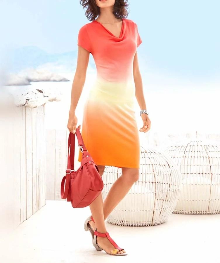 076.420a HEINE Damen Designer-Feinstrickkleid Orange-Gelb