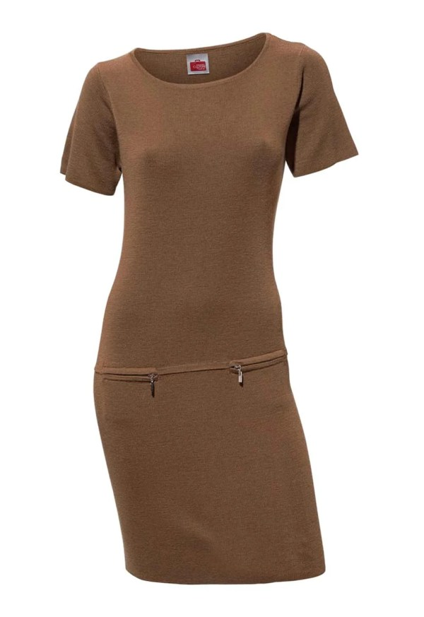 080.568 TRAVEL COUTURE BY HEINE Damen Designer-Strickkleid Camel