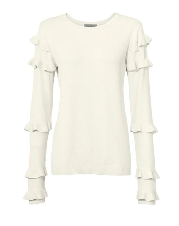 088.499 ASHLEY BROOKE Damen Designer-Pullover m. Rüschen Natur