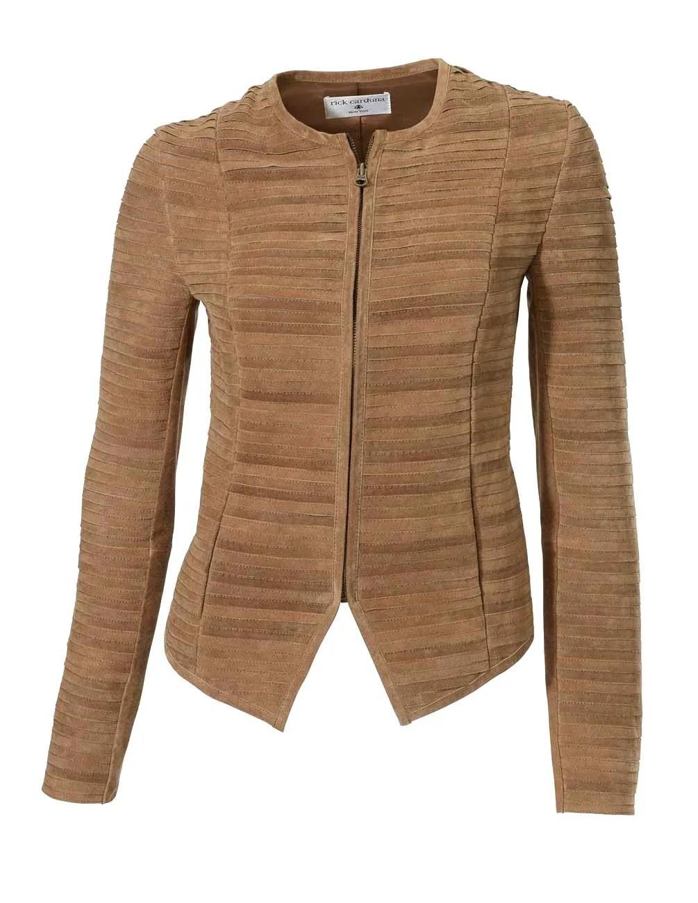 098.826 Rick Cardona Designer Damen-Lederjacke Jacke Gesteppt m. Futter Cognac Braun