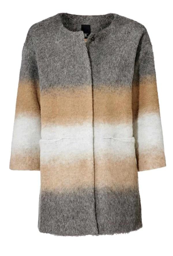 112.411 HEINE Damen Designer-Wollflauschmantel Kurzmantel Schurwolle Warm Grau-Camel