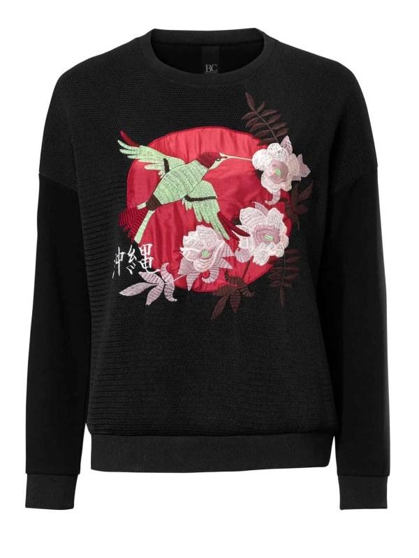 116.903 HEINE Damen Designer-Sweatshirt mit Stickerei Schwarz