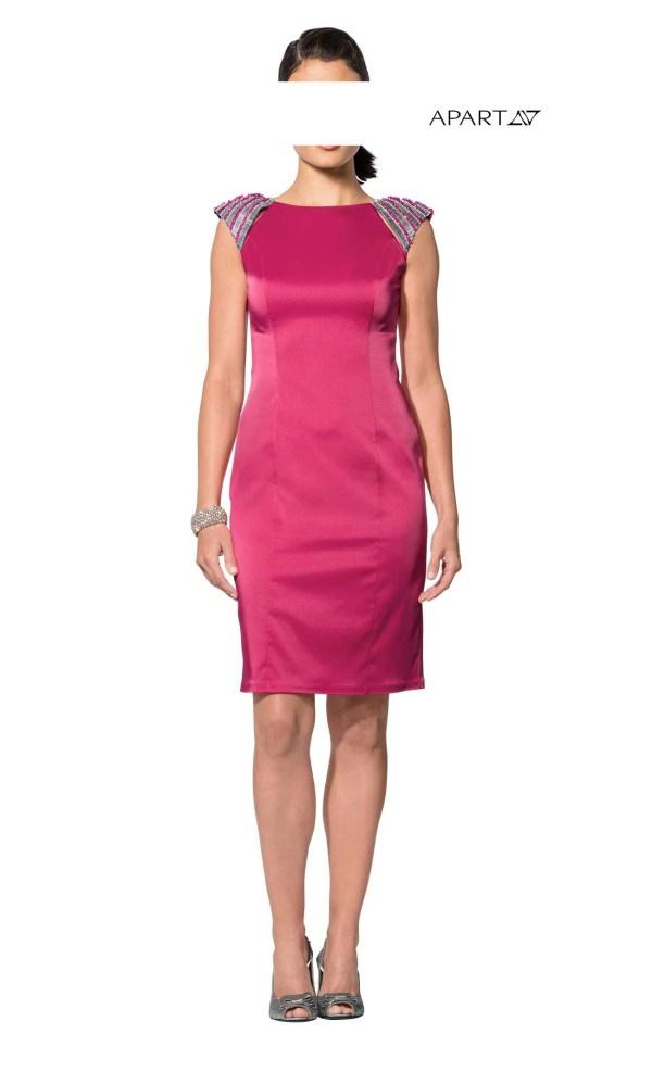 121.400 APART Damen Designer-Satinkleid Etuikleid Stretchkleid Perlen Pink Silber EDEL