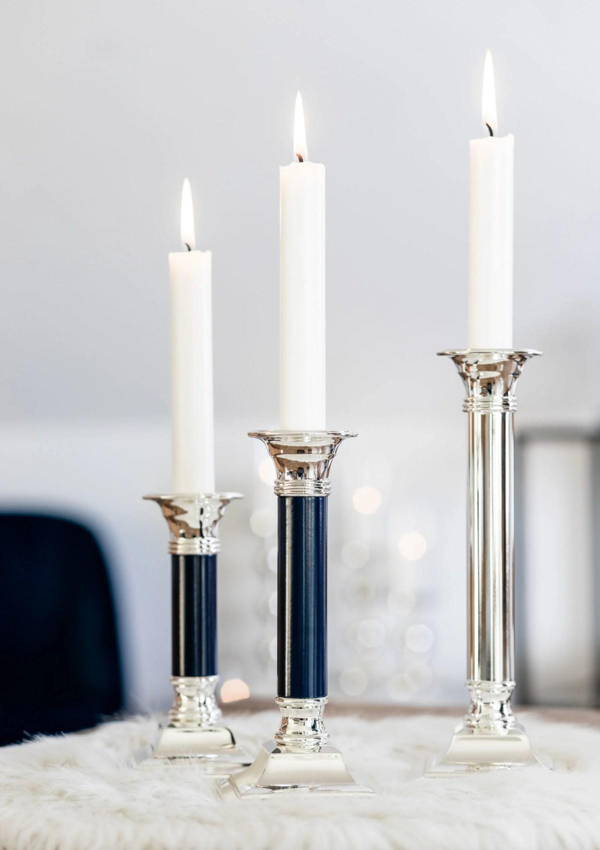 1176 Kerzenleuchter Lincoln Dunkelblau Leder, Höhe 15 cm