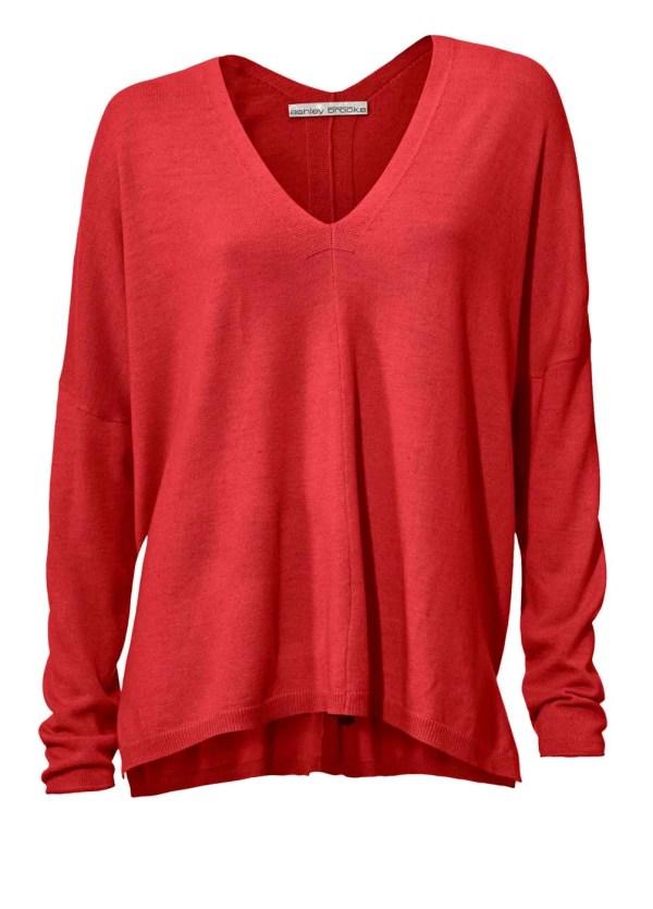 135.112 ASHLEY BROOKE Damen Designer-Oversized-Pullover m. Kaschmir Rot Wolle Casual