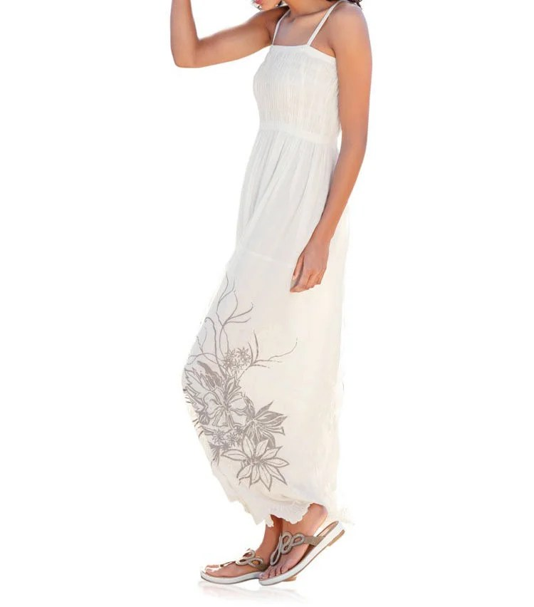144.003 RICK CARDONA Damen Designer-Maxikleid Ecru