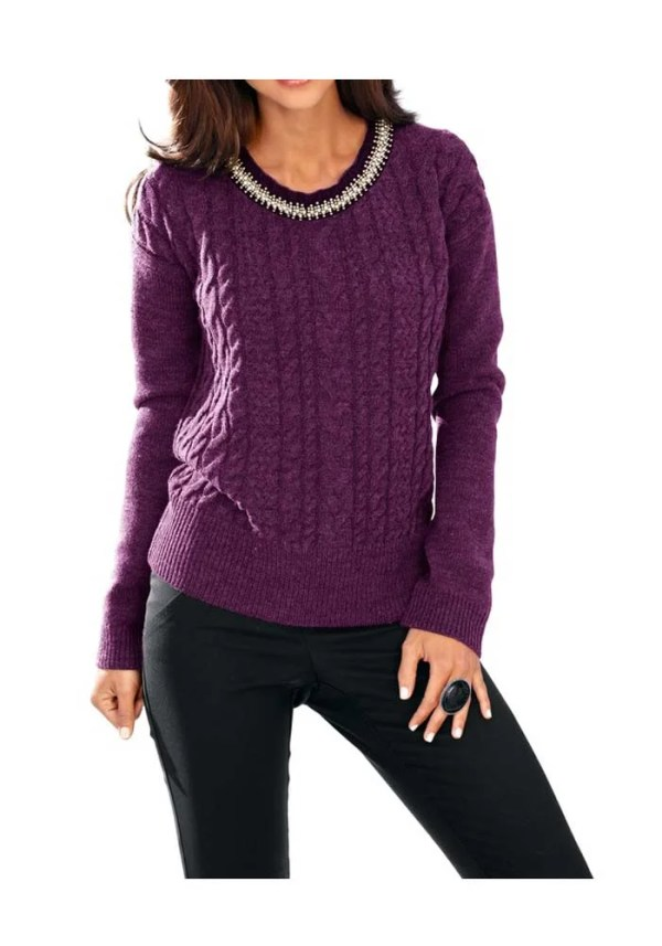 154.955 ASHLEY BROOKE Damen Designer-Pullover m. Perlen Beere