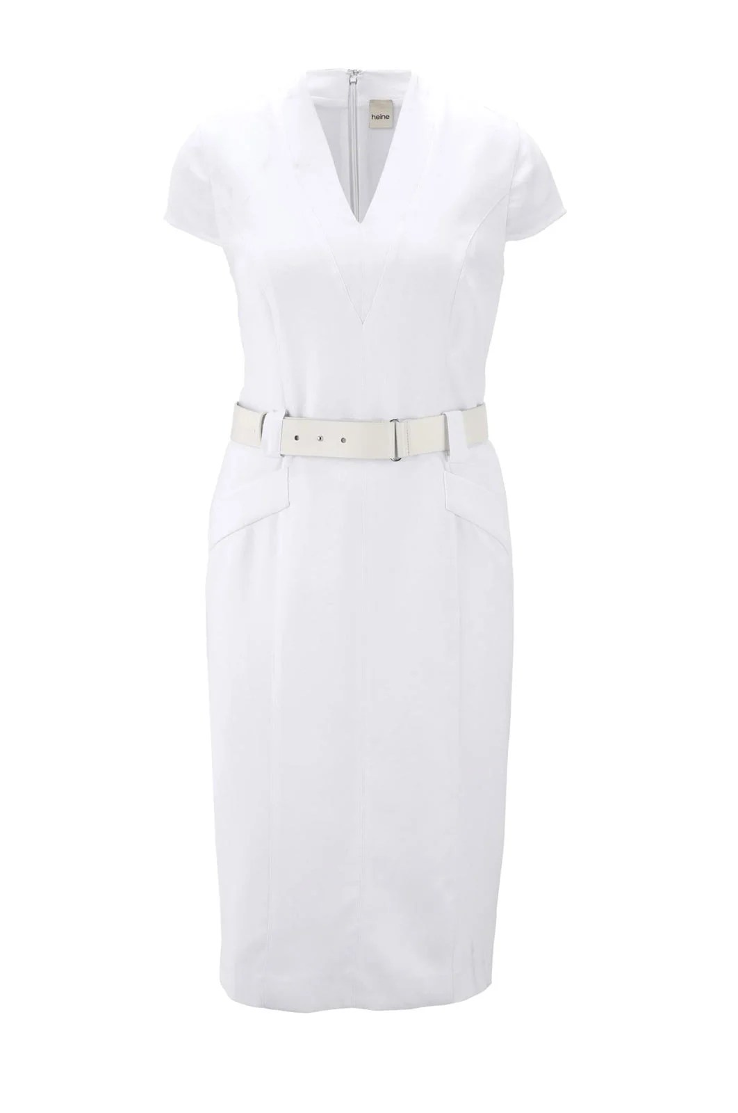 Etuikleid mit Gürtel Weiß für die Hochzeit | Missforty