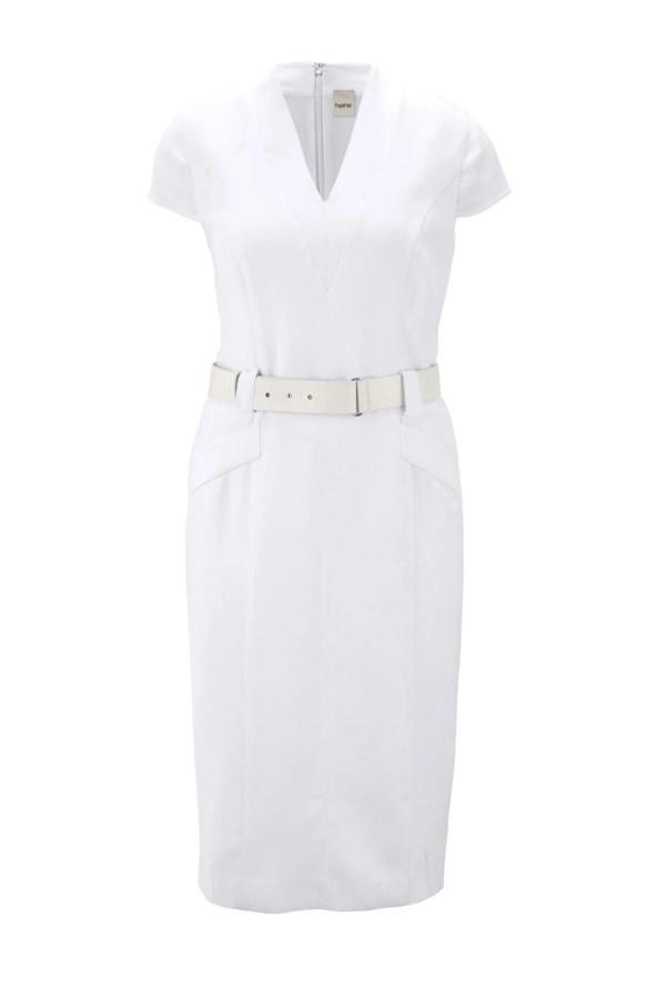 Etuikleid mit Gürtel Weiß für die Hochzeit   Missforty
