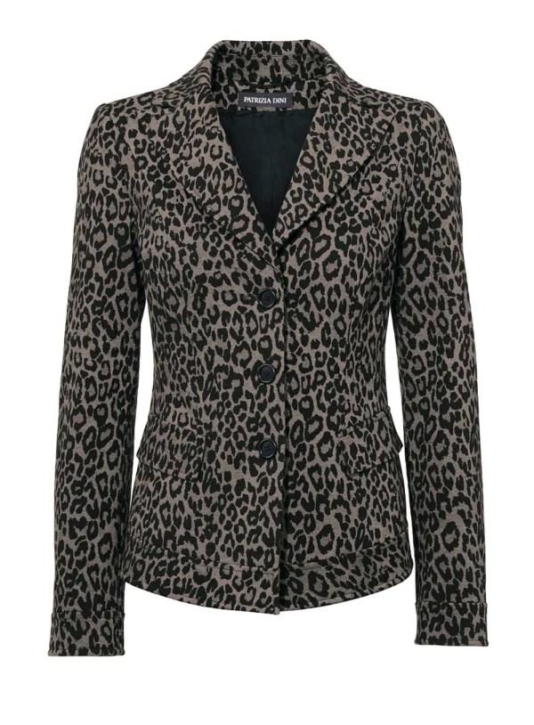 178.277 PATRIZIA DINI Damen Designer-Blazer Leopardenmuster Braun Taupe Schwarz Jersey