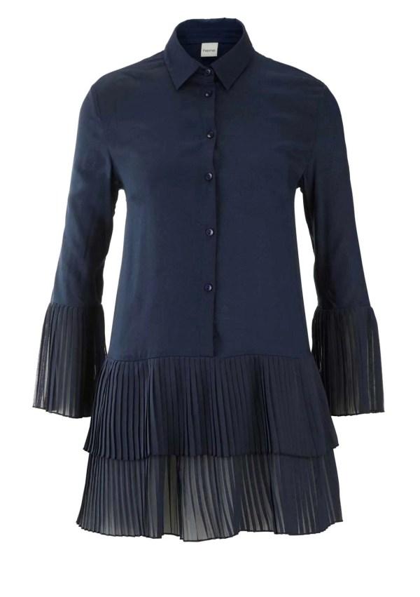 179.167 HEINE Damen Designer-Bluse m. Volants Nachtblau