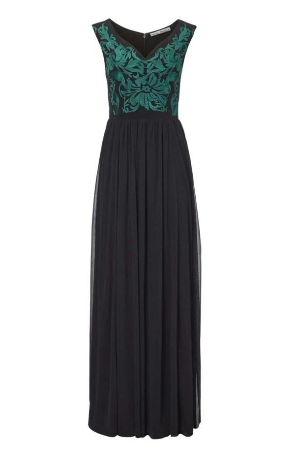 182.870 ASHLEY BROOKE Damen Designer-Abendkleid Schwarz-Grün
