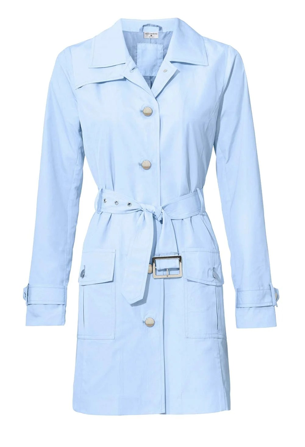 199.787 RICK CARDONA Damen Designer-Trenchcoat Kurz Hellblau Mantel Bindegürtel Trench