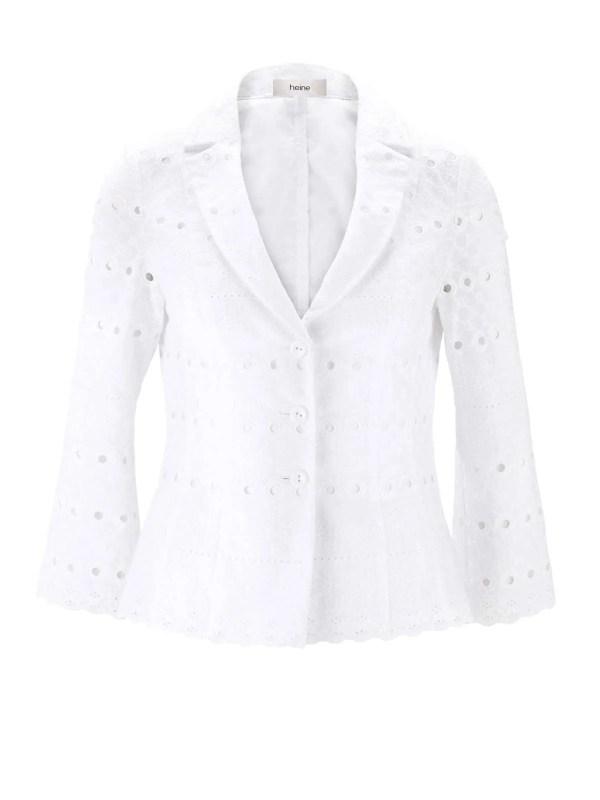 201.398 HEINE Damen Designer-Lochstickerei-Blazer Weiß Business Blazerjacke