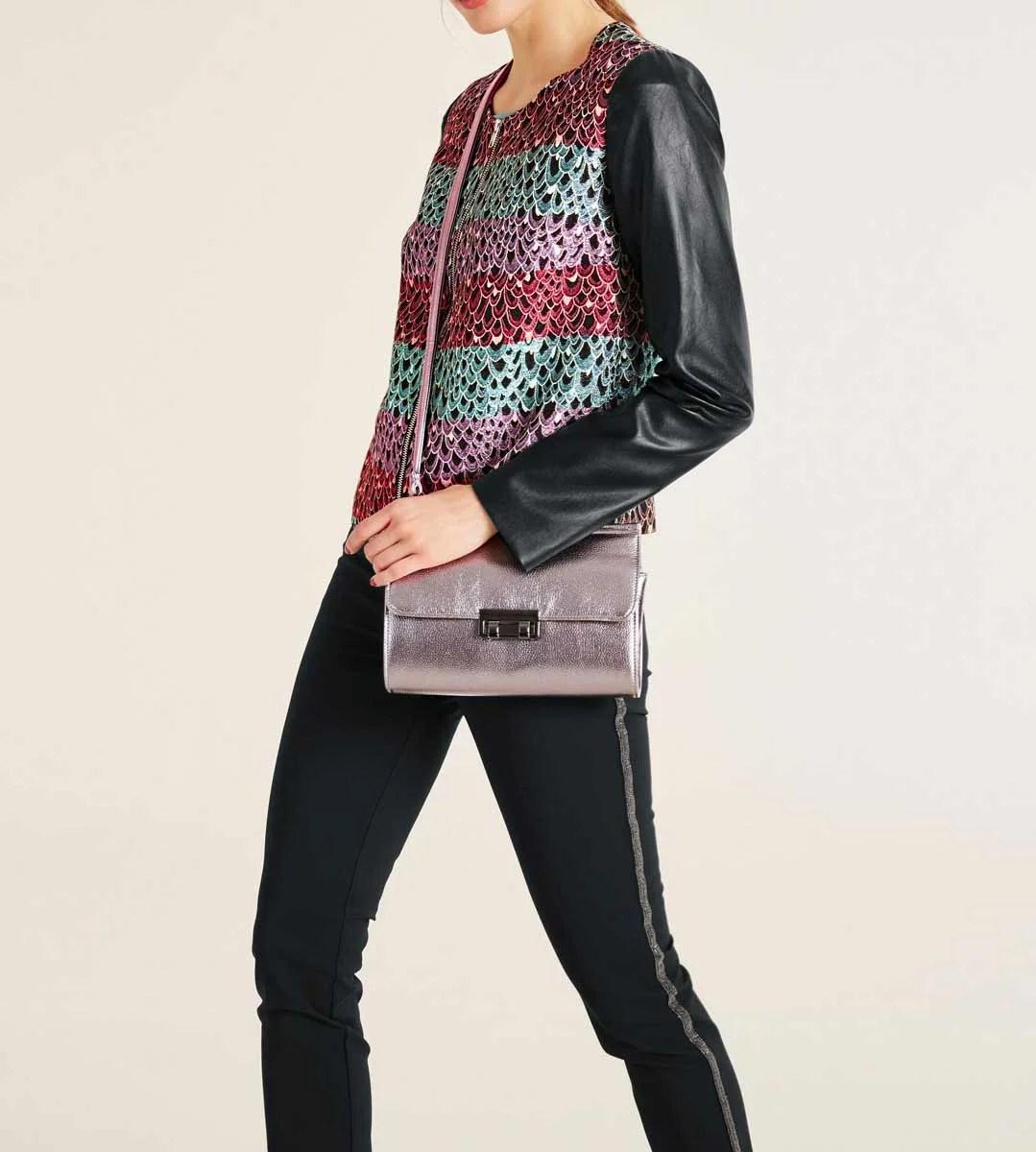 246.570 ASHLEY BROOKE Damen Designer-Blazer Schwarz-Bunt Lederimitat Jacquard Glitzer