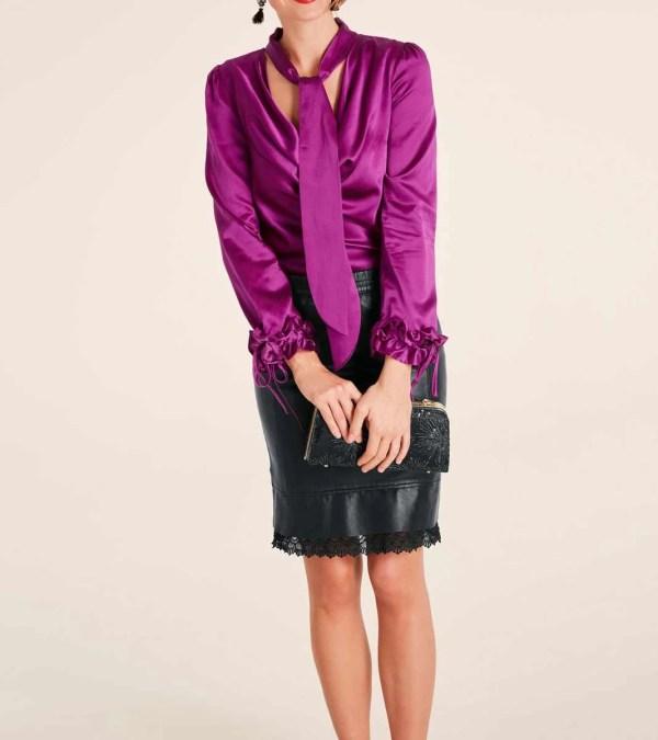 268.027 HEINE Damen Designer-Seidenbluse Pink
