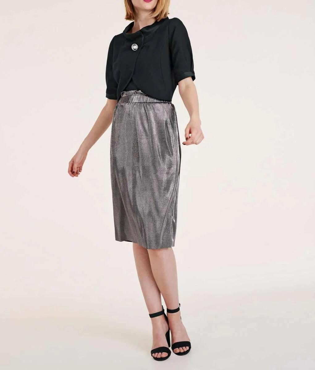 305.761 ASHLEY BROOKE Damen Designer-Rock Silberfarben-Metallic