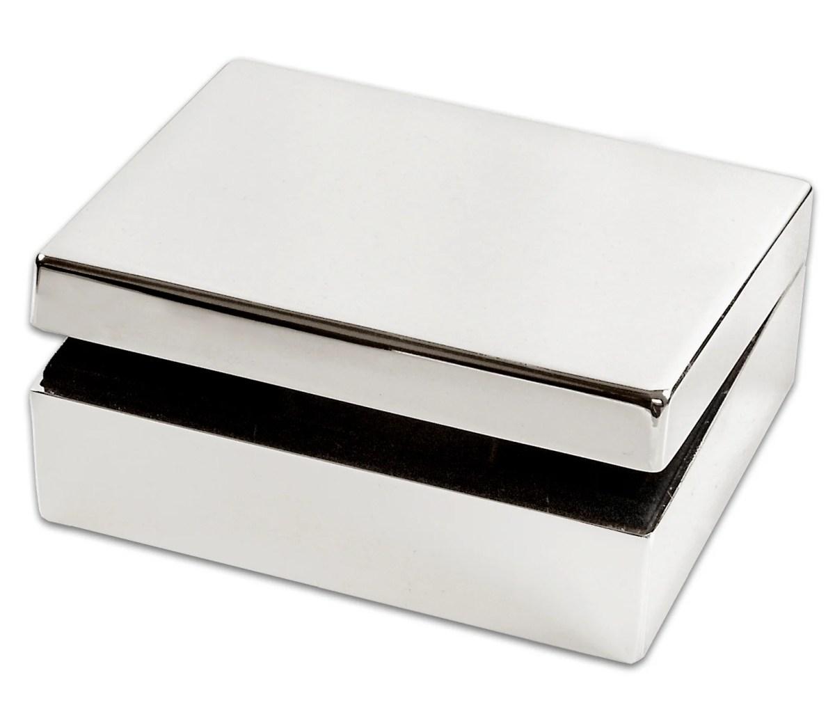 4153 Schmuckdose Java mit Klappdeckel, 8 x 10 cm, Höhe 4 cm, edel versilbert, anlaufgeschützt
