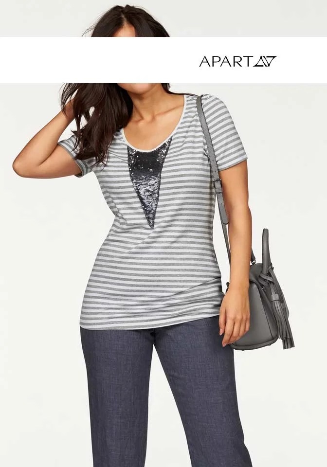 434.951 APART Damen Designer-Shirt Grau-Weiß
