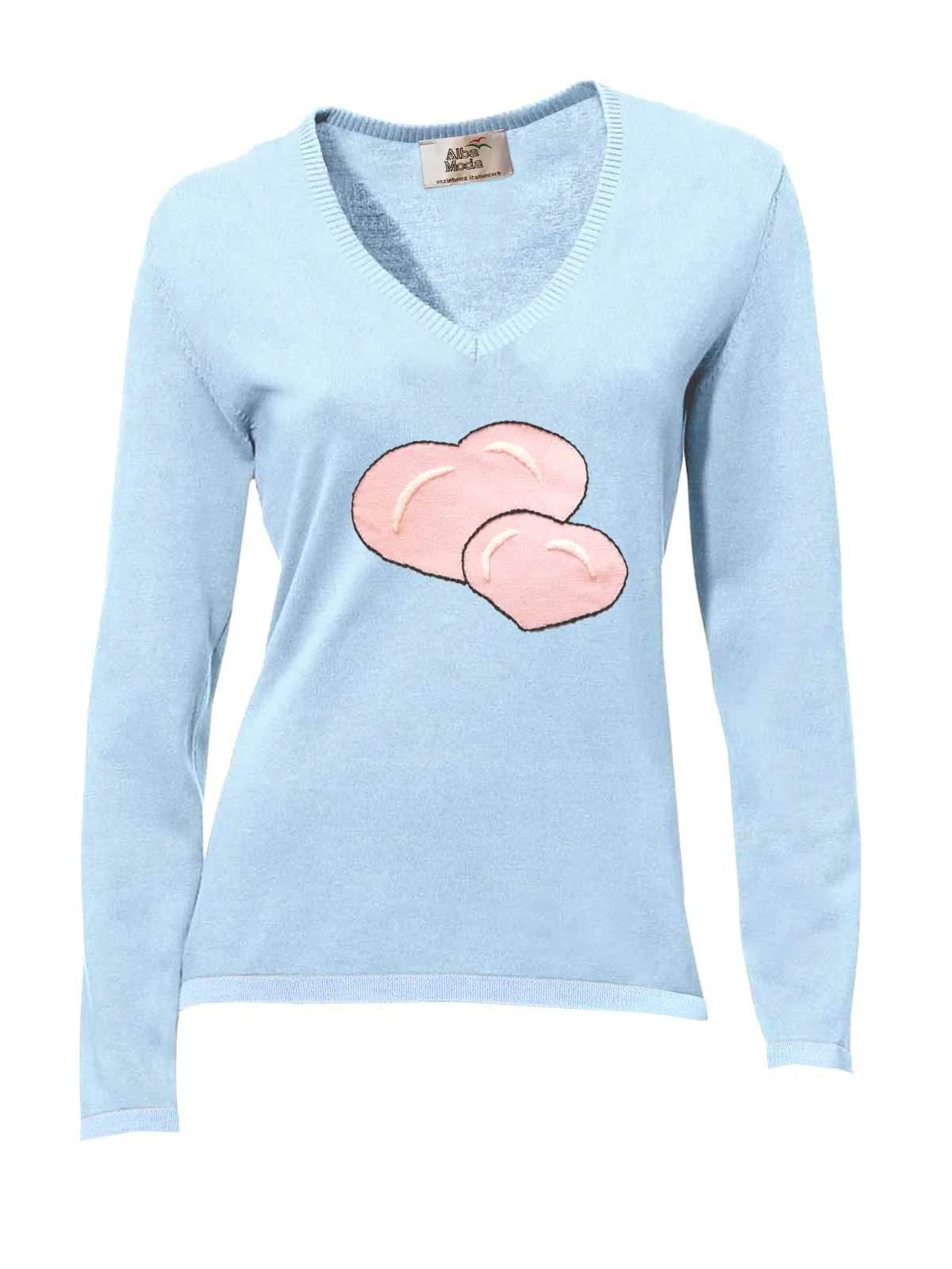 435.193 ALBA MODA Damen Designer-Pullover Blau-Rosé Kurzpullover Herz Feinstreck Herzen