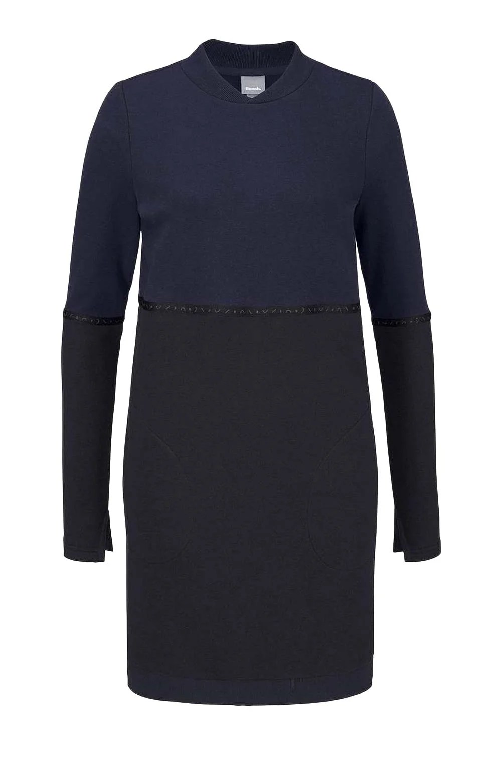 486.531 BENCH Damen-Sweatkleid Sweatshirt Kleid m. Taschen Navy-Schwarz
