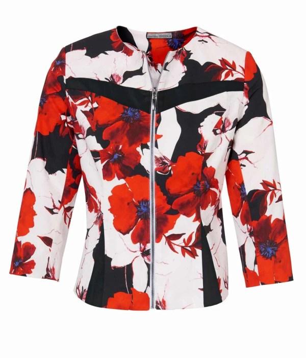 588.177 ASHLEY BROOKE Damen Designer-Blazer Blüten Muster Weiß-Bunt Business Blazerjacke
