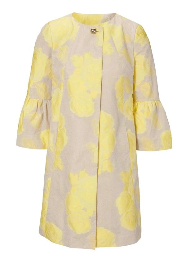 688.344 ASHLEY BROOKE Damen Designer-Jacquard-Longblazer Sand-Gelb Blazer Lang Longform