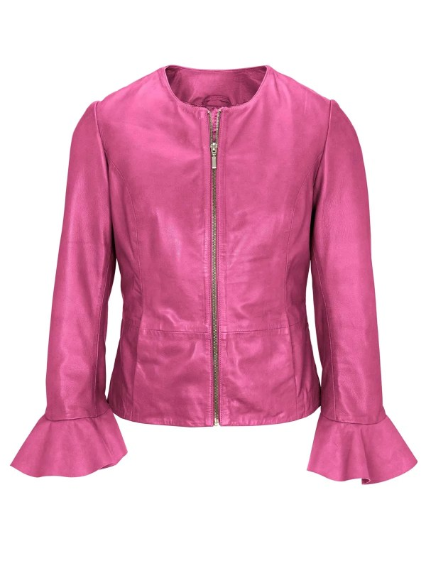 697.425 HEINE Damen Designer-Lammnappalederjacke m. Volants Pink