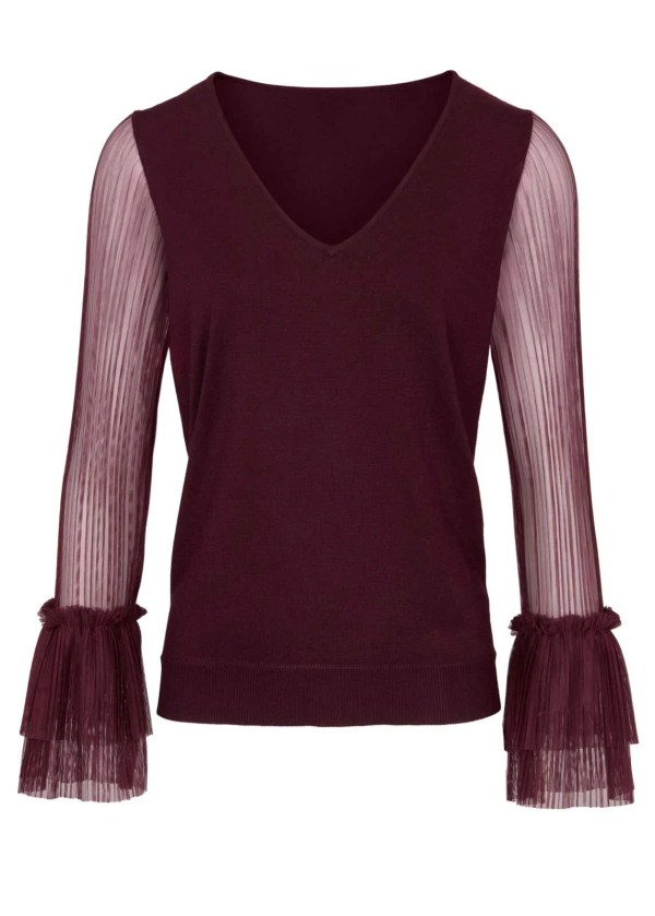 700.886 ASHLEY BROOKE Damen Designer-Pullover m. Plisseeärmeln Bordeaux