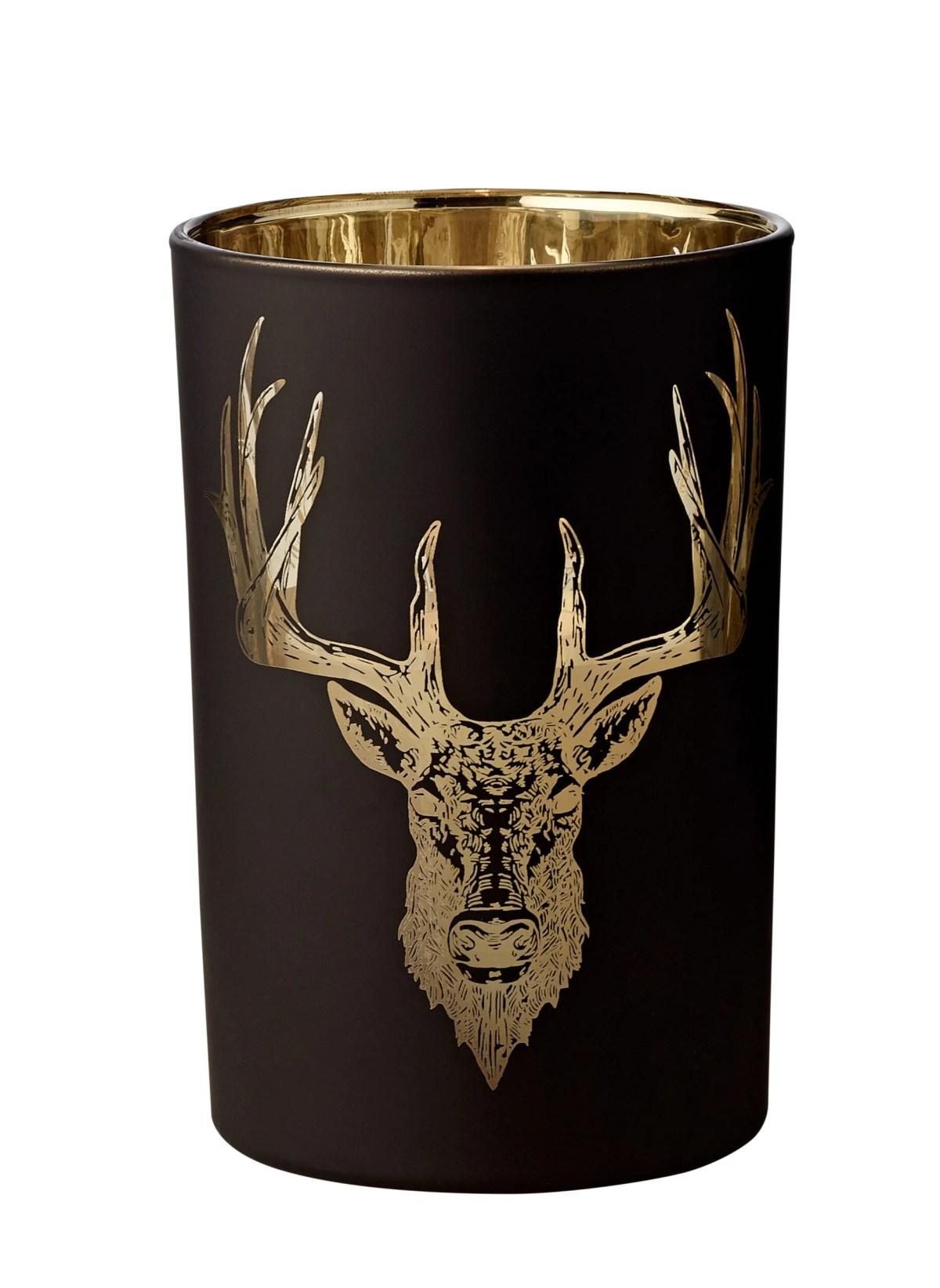 7149 Windlicht Teelichthalter Teelichtglas Wald, Hirsch-Motiv, schwarz / gold, Höhe 18 cm