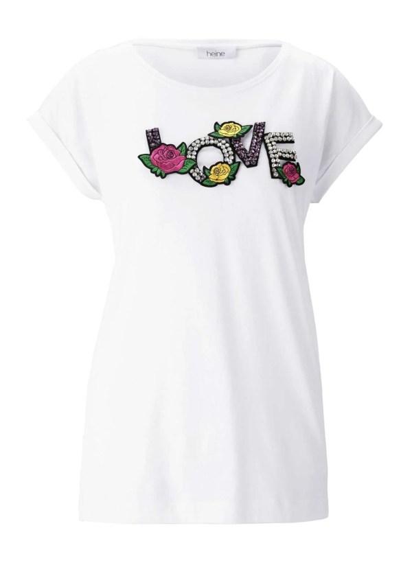 746.992 HEINE Damen Designer-Jerseyshirt m. Strass Weiß