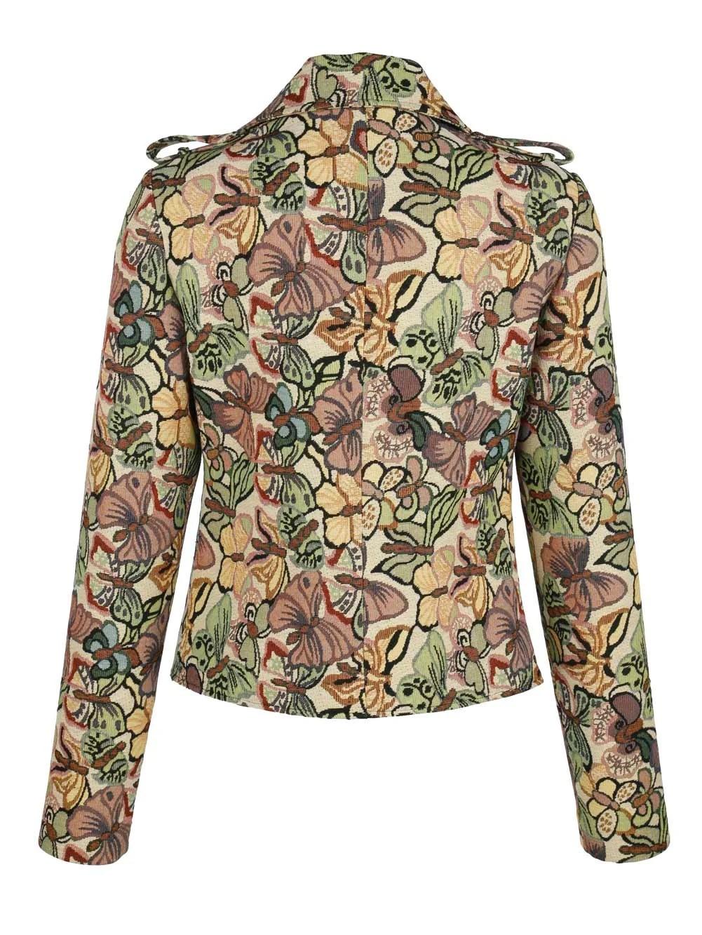 762.717 ALBA MODA Damen Designer-Jacquard-Bikerjacke Blazer Muster Schmetterling Bunt